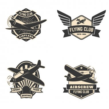 Set of flying club labels and emblems