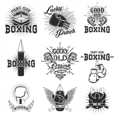 Set of the boxing club labels, emblems and design elements