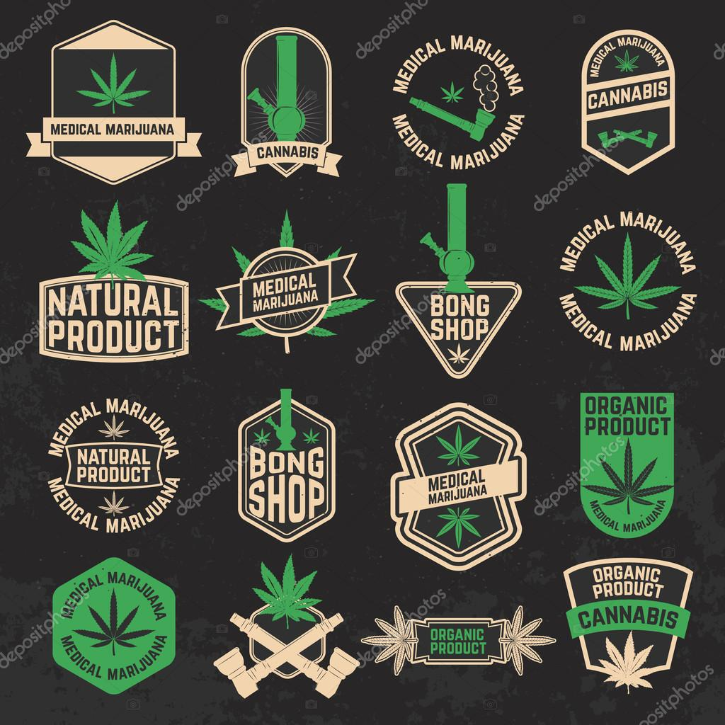 Set of cannabis, marijuana, bong shop labels, badges and design