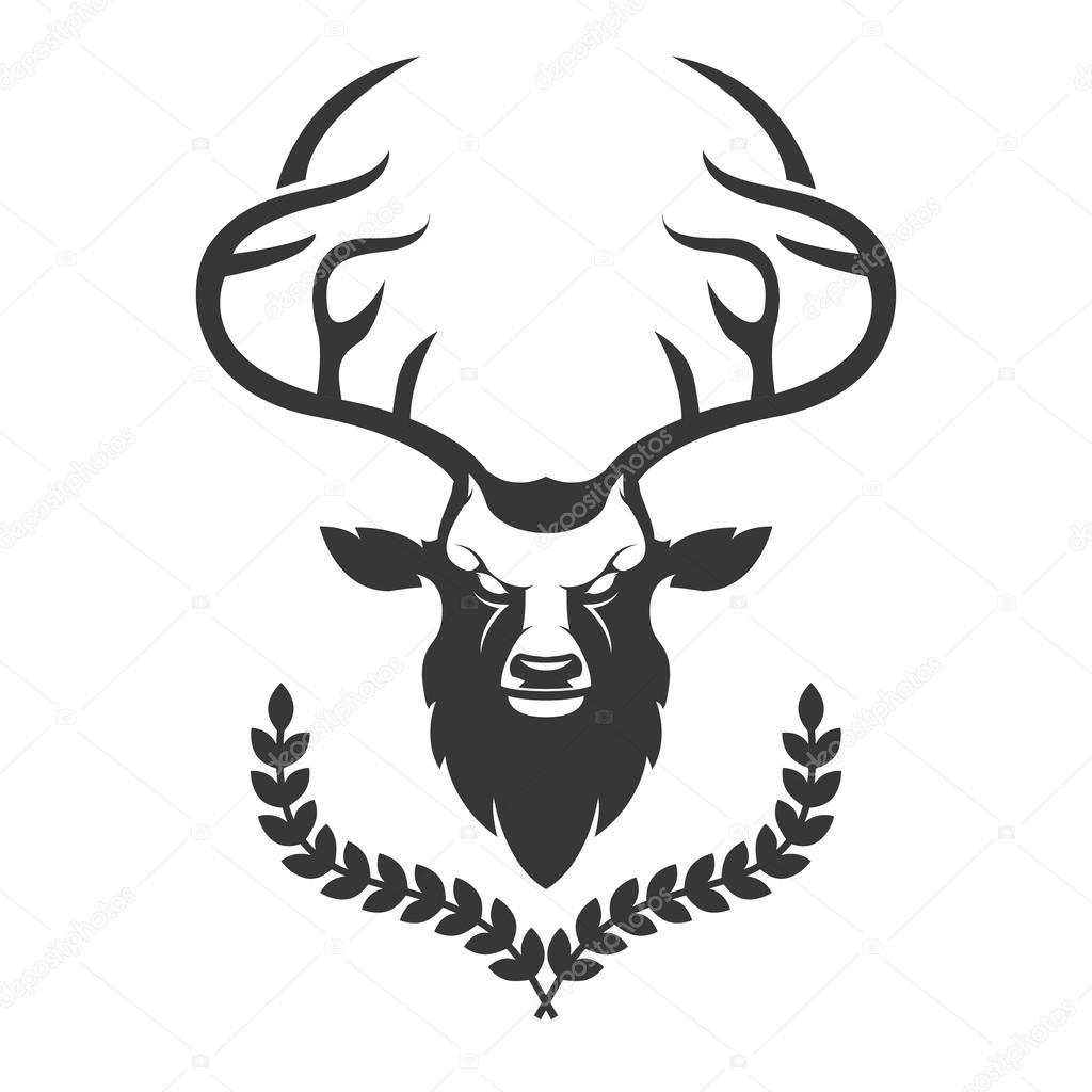 cerf t te silhouette avec couronne isol sur fond blanc d image vectorielle art l. Black Bedroom Furniture Sets. Home Design Ideas