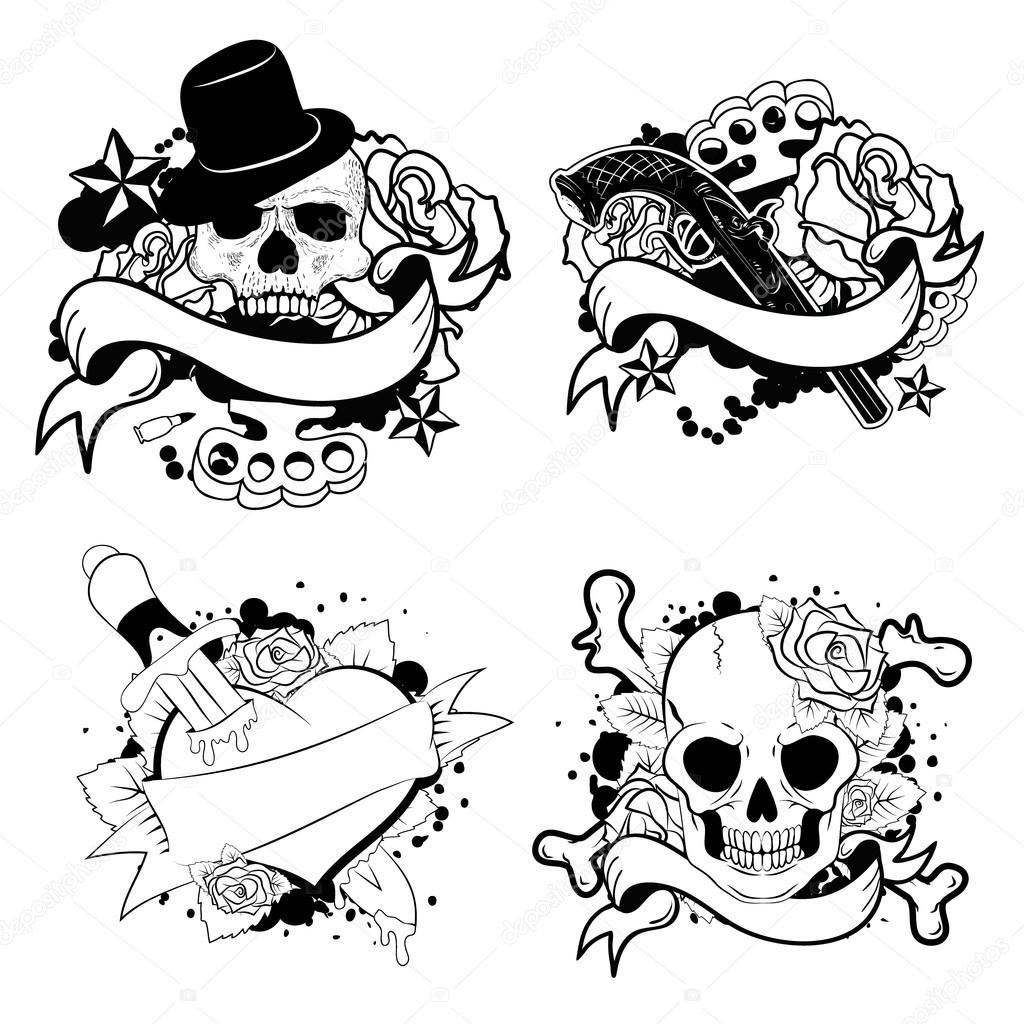 c048d5a6e07be old school tattoo set — Stock Vector © art-l@i.ua #106433564