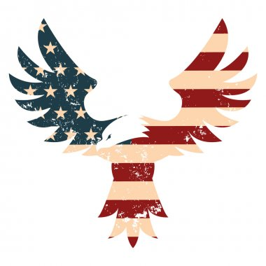 American Eagle with USA flag background. Design element in vecto