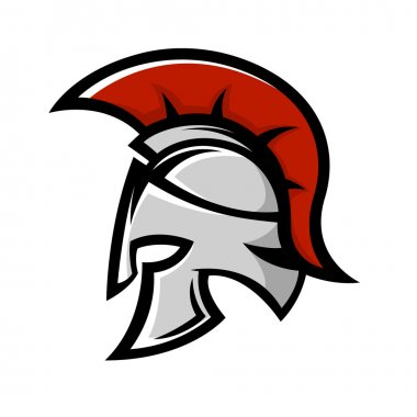 Spartan warrior helmet. Sports team emblem template.