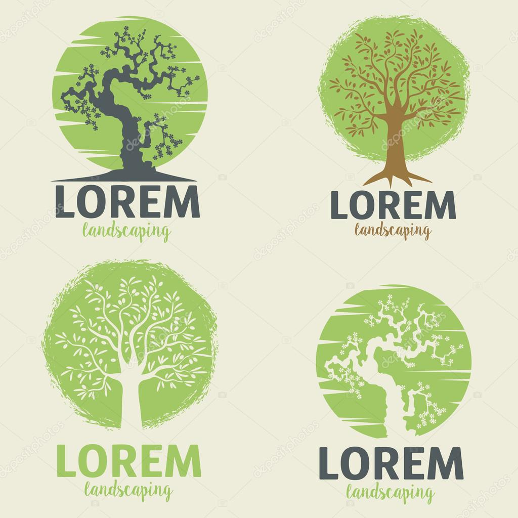 landscaping logo templates eco lifestyle sign template ストック