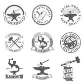 Photo Set of blacksmith, iron works labels, badges and design elements