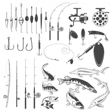 Set of fishing tools, river fish icons, equipment for fishing. D