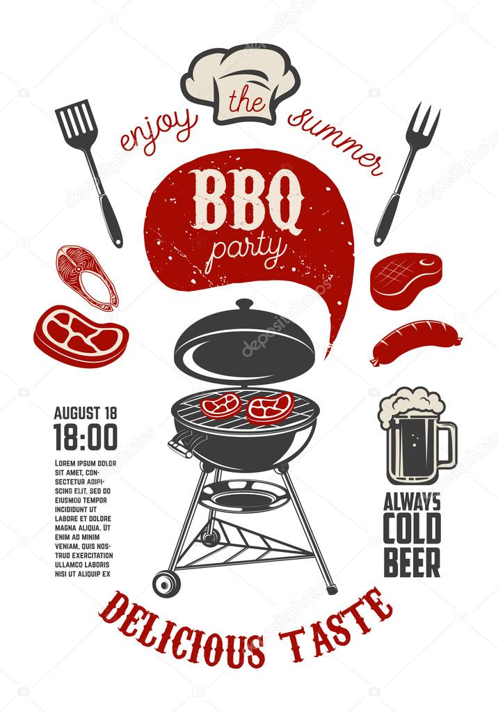 bbq party vintage flyer template grill with kitchen tools stea