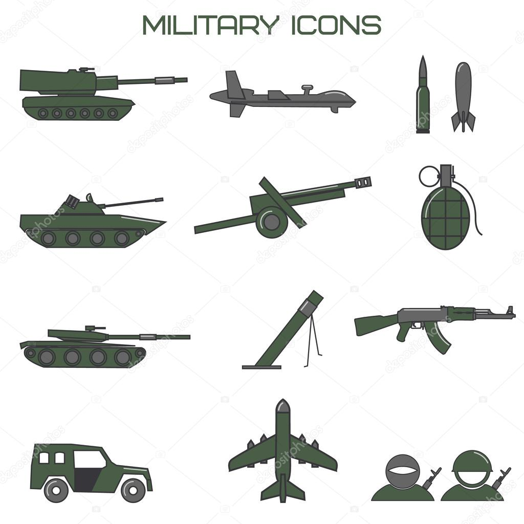 Set of military icons. tank, fighting machine, drone, mortar amm ...