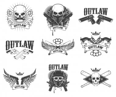 Set of  gangsta skulls isolated on white background. outlaw. Win