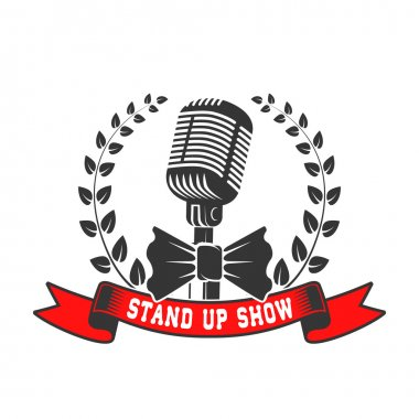 stand up show emblem template. Old style microphone with laurel