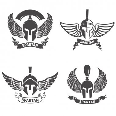 Set of the spartan helmets with wings. Design elements for logo,