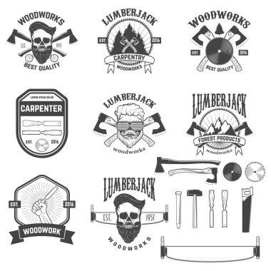 Set of woodworks, carpentry labels, emblems and design elements.