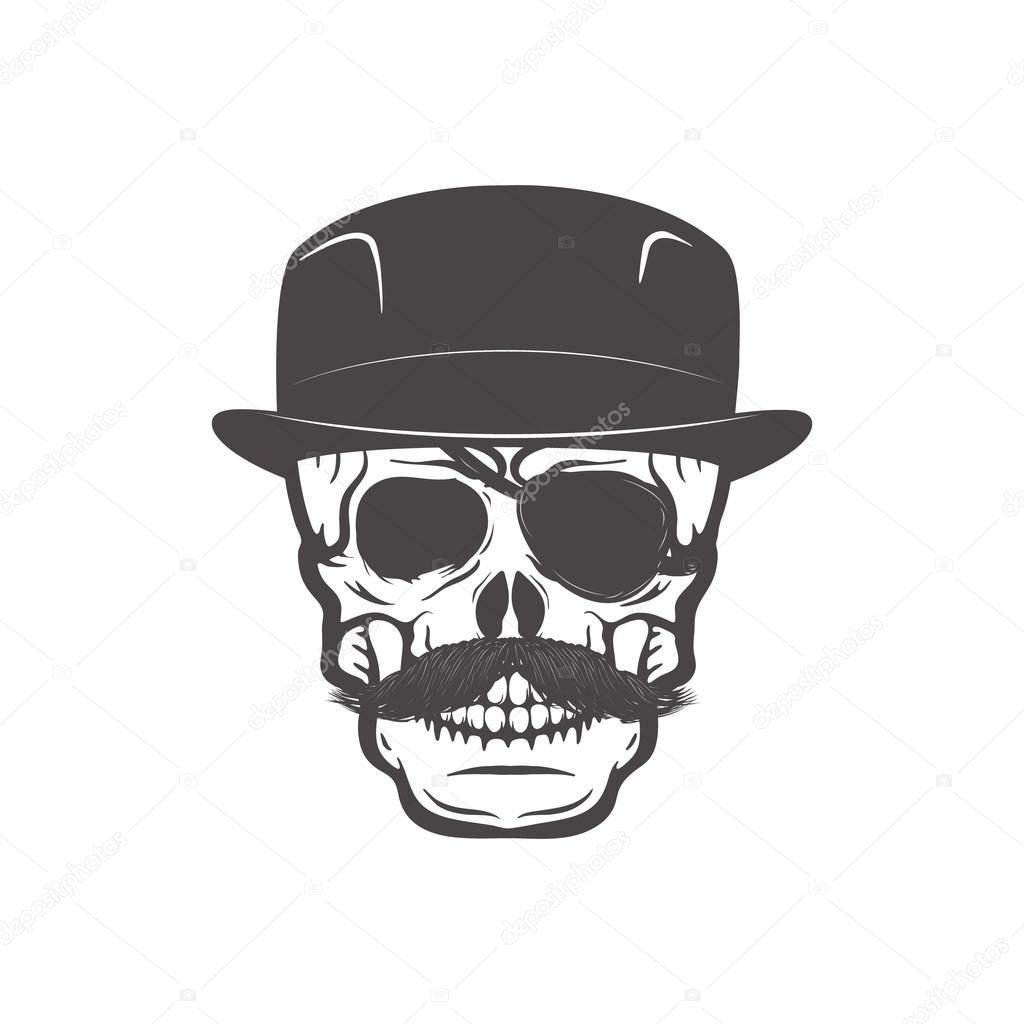 Schädel im Gentleman Hut. Gestaltungselement für T-shirt drucken ...