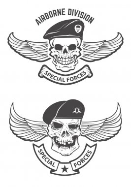 Special forces. Winged skulls in military headdresses. Design elements for emblem, badge. Vector illustration. stock vector