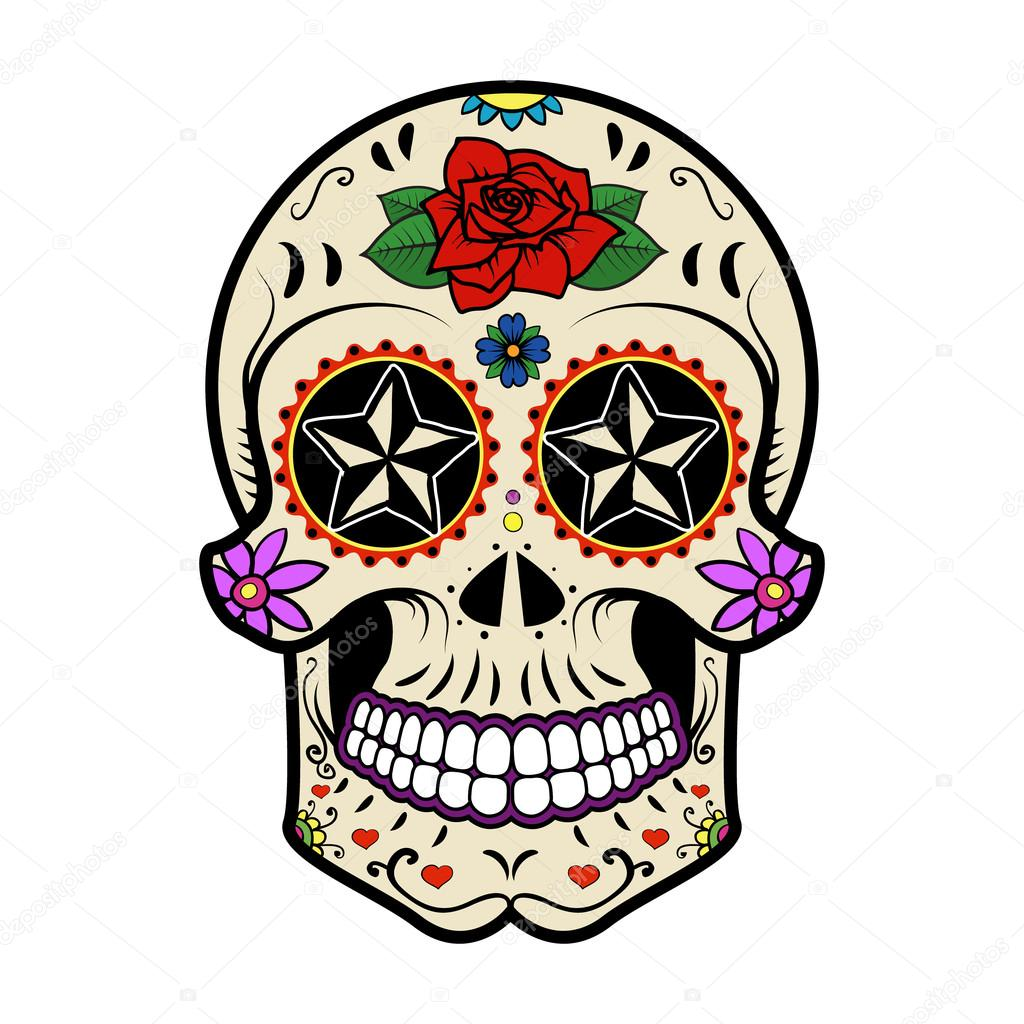 sugar skull isolated on white background day of the dead stock rh depositphotos com day of the dead vector art free day of the dead vector art free