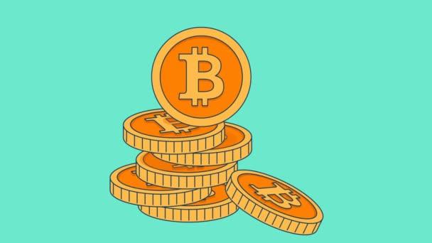 Animáció arany érmék bitcoin jel lapos stílusban.