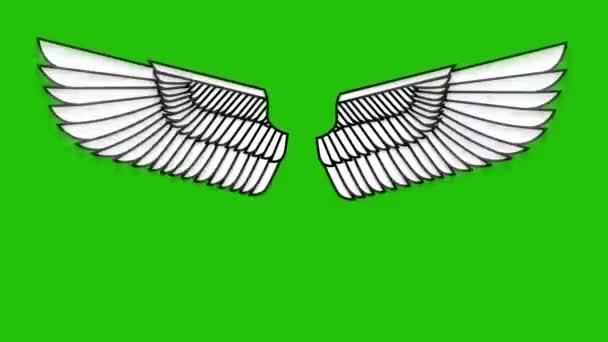 Animation fliegender Flügel auf grünem Hintergrund. Animation mit Engelsflügeln.