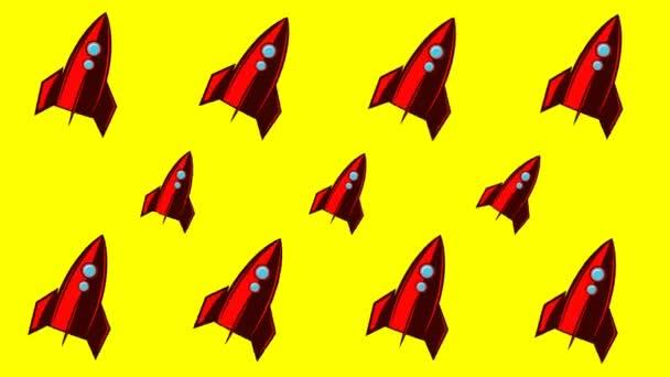 Animierter Hintergrund mit Weltraumraketen
