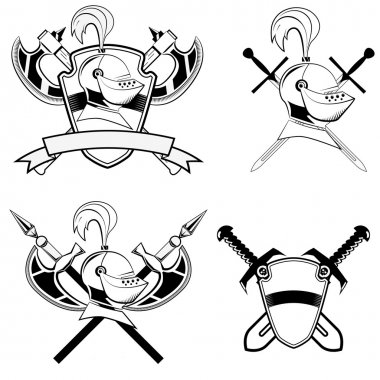 Knight's helmet, shield and swords and battle-ax.Set of design elements in vector stock vector