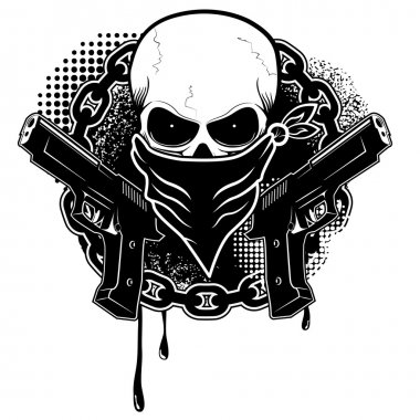 Skull and two pistols with grunge background.Design element in vector stock vector