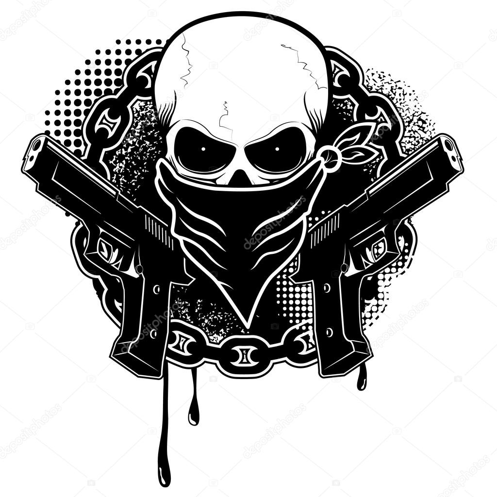Drawings Easy Skull With Guns: Stock Vector © Art-l@i.ua #77497566