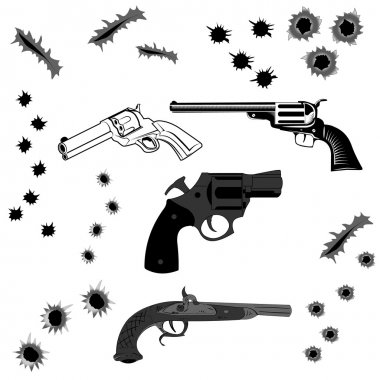 pistols and bullet holes