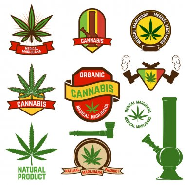 cannabis labels set in vector