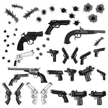 guns and bullet holes set