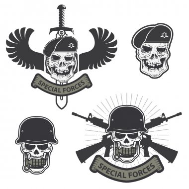 Military emblem. Human skull in a helmet with a grenade in his mouth. special forses labels set stock vector