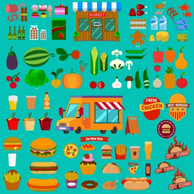 Big set of food icons. Food truck. Market