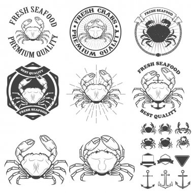 Set of crabs labels. Fresh seafood.