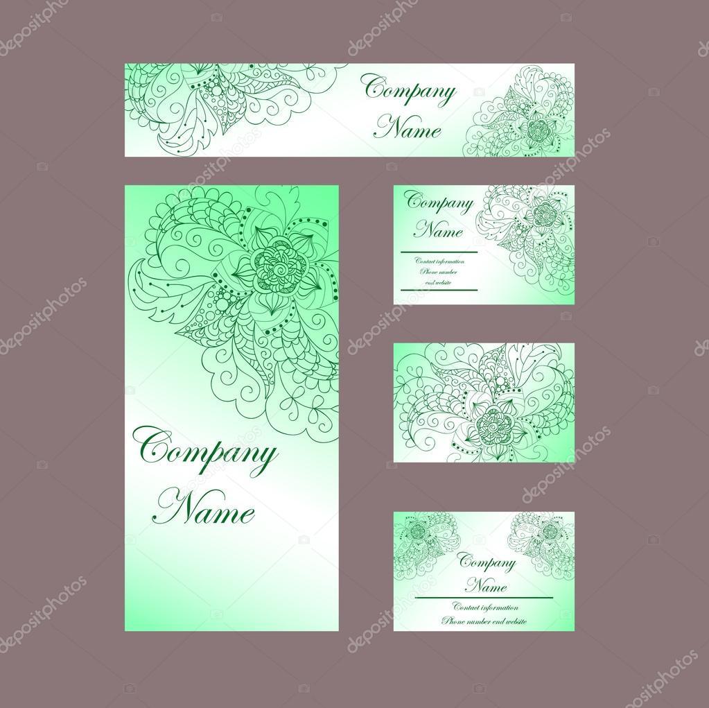 Cartes De Visite Invitations Vertes Modele Vectoriel Pour Ar Entreprise Illustration Stock