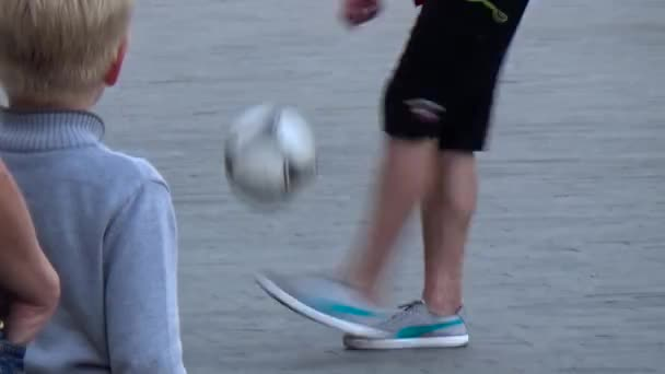 Juggling  A Football.  Slow motion.  Perm.Russia. September 27th, 2015