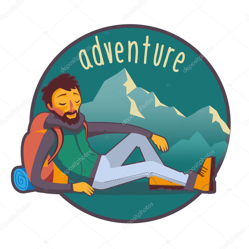 Bearded traveler with backpack in mountains