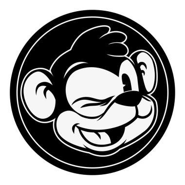 Vintage cartoon. Smiling and winking retro cartoon monkey character in black circle.