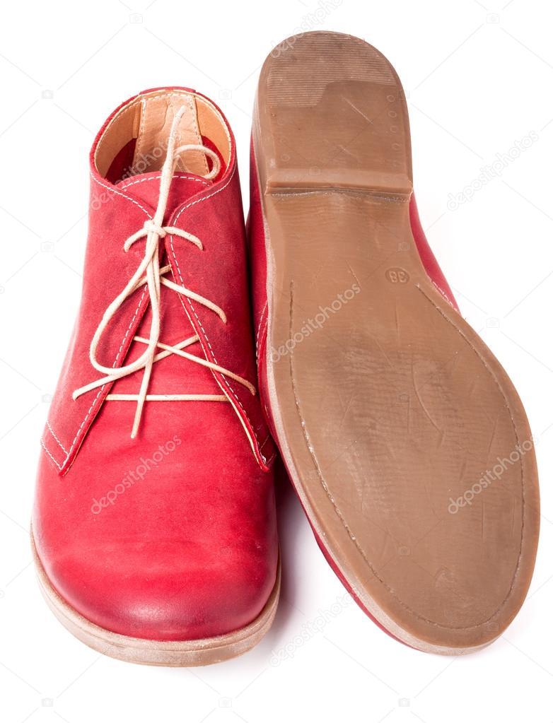 Ženy červené kožené boty s tkaničkami izolovaných na bílém pozadí — Stock  fotografie d7ab55f2ed