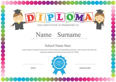 Preschool kids diploma certificate design template background