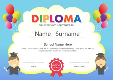 Preschool kids elementary school diploma certificate design temp