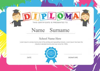 Kids diploma preschool certificate elementary school design template background clip art vector
