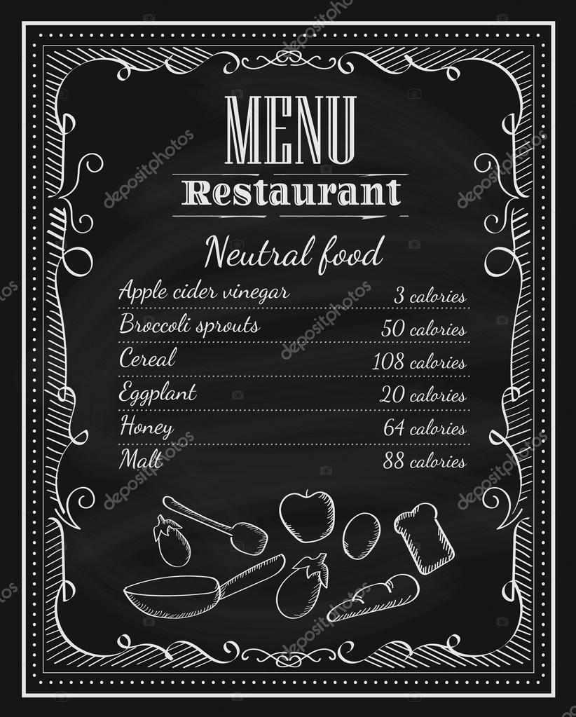 Mano de restaurante pizarra dibujado Pizarra marco vintage menú l ...