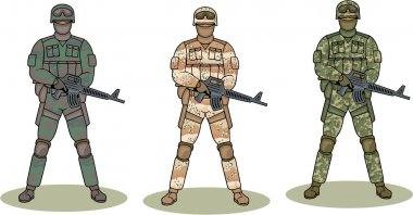 Soldiers in camouflage stock vector
