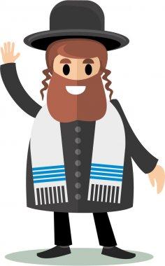 Flat-jew rabbi israel judaist hasid stock vector