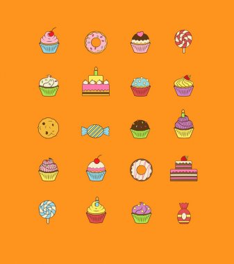 A set of yummy flat outlined icon vector illustrations of various kinds of sweets and desserts. It includes donuts, cupcakes, candies, birthday cakes.
