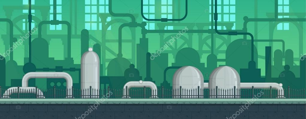 Seamless endless industrial postapocalyptic game environment illustration with pipes and machinery siloettes. Separated layers for game development.