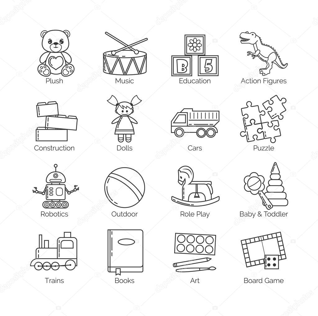 una coleccin de iconos de delgada lnea minimalista de diversas categoras y clases de juguetes y actividades para nios bebs y nios pequeos