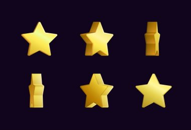 Sprite sheet effect animation of a spinning golden star sparkling and rotating. For video effects, game development.