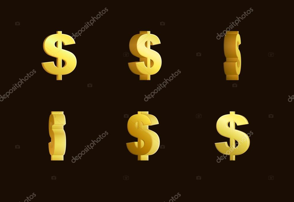 Sprite Sheet Effect Animation Of A Spinning Golden Dollar Sign