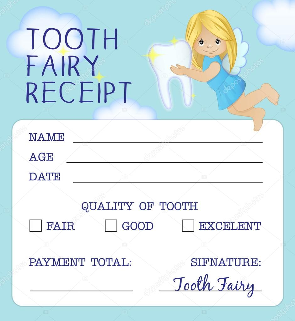 picture regarding Free Printable Tooth Fairy Receipt called Enamel Fairy receipt certification style and design Inventory Vector