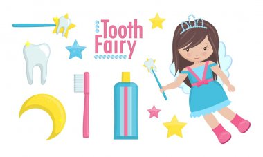 Tooth fairy with wand and a set of cute items.
