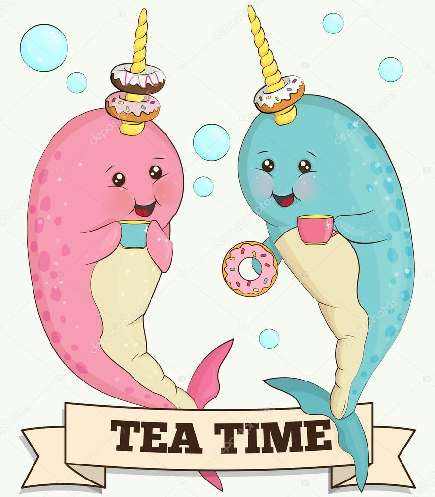 Two cute narwhal animals drinking tea with doughnuts